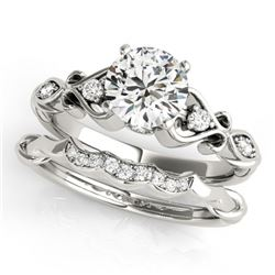 0.97 CTW Certified VS/SI Diamond Solitaire 2Pc Wedding Set Antique 14K White Gold - REF-200R9K - 315