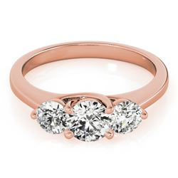 1 CTW Certified VS/SI Diamond 3 Stone Solitaire Ring 18K Rose Gold - REF-158R4K - 28012
