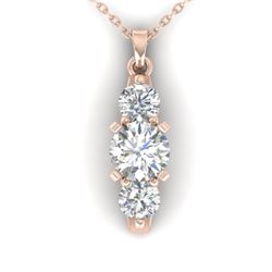 1.25 CTW Certified VS/SI Diamond Art Deco 3 Stone Necklace 14K Rose Gold - REF-193R3K - 30481