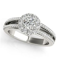0.75 CTW Certified VS/SI Diamond Solitaire Halo Ring 18K White Gold - REF-130T5X - 26629