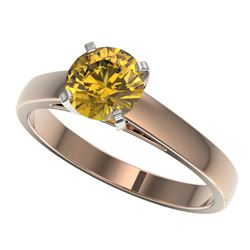 1.23 CTW Certified Intense Yellow SI Diamond Solitaire Ring 10K Rose Gold - REF-231R8K - 36542
