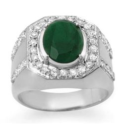 5.25 CTW Emerald & Diamond Mens Ring 10K White Gold - REF-118X2T - 14498