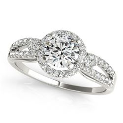 0.75 CTW Certified VS/SI Diamond Micro Pave Solitaire Halo Ring 18K White Gold - REF-119N3Y - 26802