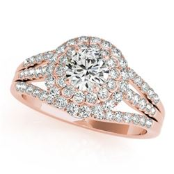 1.25 CTW Certified VS/SI Diamond Solitaire Halo Ring 18K Rose Gold - REF-174F5M - 26576