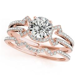 1.01 CTW Certified VS/SI Diamond Solitaire 2Pc Wedding Set 14K Rose Gold - REF-140W2H - 31998