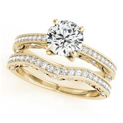 1.52 CTW Certified VS/SI Diamond Solitaire 2Pc Wedding Set Antique 14K Yellow Gold - REF-398M8F - 31