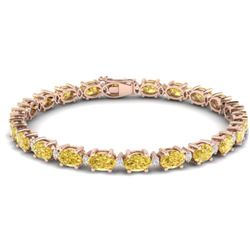 25.8 CTW Citrine & VS/SI Certified Diamond Eternity Bracelet 10K Rose Gold - REF-118Y4N - 29448