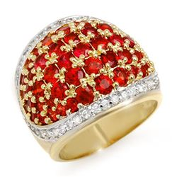 5.75 CTW Red Sapphire & Diamond Ring 14K Yellow Gold - REF-142M2F - 10633