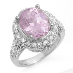7.0 CTW Kunzite & Diamond Ring 14K White Gold - REF-128H2W - 11071