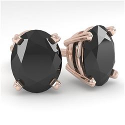 10 CTW Oval Black Diamond Stud Designer Earrings 18K Rose Gold - REF-234M5F - 32333