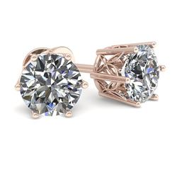1.0 CTW Certified VS/SI Diamond Stud Solitaire Earrings 18K Rose Gold - REF-178M2F - 35819