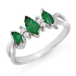 0.57 CTW Emerald & Diamond Ring 18K White Gold - REF-29K3R - 12748