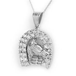 1.25 CTW Certified VS/SI Diamond Pendant 14K White Gold - REF-129Y3N - 14427