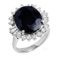 14.02 CTW Blue Sapphire & Diamond Ring 18K White Gold - REF-144F8M - 12862