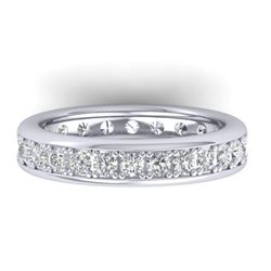 1.33 CTW Certified VS/SI Diamond Eternity Band Mens 14K White Gold - REF-127T6X - 30330