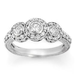 1.25 CTW Certified VS/SI Diamond Ring 18K White Gold - REF-117N6Y - 11639