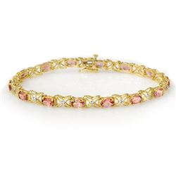 6.0 CTW Pink Tourmaline & Diamond Bracelet 14K Yellow Gold - REF-108R2K - 14139