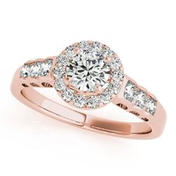 1.3 CTW Certified VS/SI Diamond Solitaire Halo Ring 18K Rose Gold - REF-219N5Y - 26977