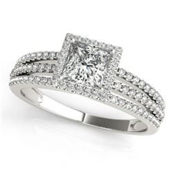 0.95 CTW Certified VS/SI Princess Diamond Solitaire Halo Ring 18K White Gold - REF-138K5R - 27177