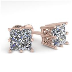 1.0 CTW VS/SI Princess Diamond Stud Solitaire Earrings 18K Rose Gold - REF-178M2F - 35828
