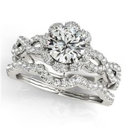1.93 CTW Certified VS/SI Diamond 2Pc Wedding Set Solitaire Halo 14K White Gold - REF-420X4T - 31184