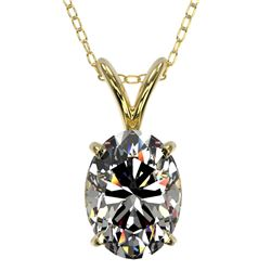 1.25 CTW Certified VS/SI Quality Oval Diamond Solitaire Necklace 10K Yellow Gold - REF-367X3T - 3321