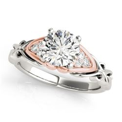 1.1 CTW Certified VS/SI Diamond Solitaire Ring 18K White & Rose Gold - REF-309T8X - 27824