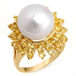 1.50 CTW Yellow Sapphire & Pearl Ring 10K Yellow Gold - REF-47R6K - 10370