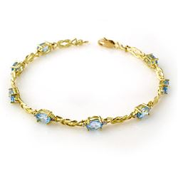 5.07 CTW Blue Topaz & Diamond Bracelet 10K Yellow Gold - REF-32H8W - 13706