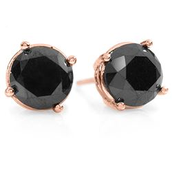 3.0 CTW Vs Certified Black Diamond Solitaire Stud Earrings 18K Rose Gold - REF-78T9X - 14154