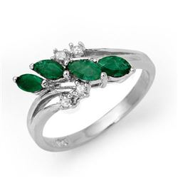 0.40 CTW Emerald & Diamond Ring 18K White Gold - REF-38K4R - 13085