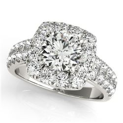 2 CTW Certified VS/SI Diamond Solitaire Halo Ring 18K White Gold - REF-284N2Y - 26440
