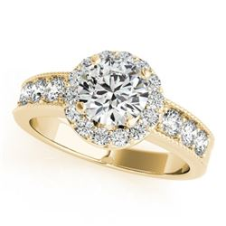 1.6 CTW Certified VS/SI Diamond Solitaire Halo Ring 18K Yellow Gold - REF-250W9H - 27062