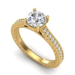 1.45 CTW VS/SI Diamond Art Deco Ring 18K Yellow Gold - REF-400R2K - 37006