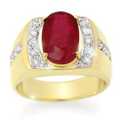 6.33 CTW Ruby & Diamond Mens Ring 10K Yellow Gold - REF-76X2T - 14487