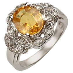 3.75 CTW Yellow Sapphire & Diamond Ring 10K White Gold - REF-63H6W - 10859