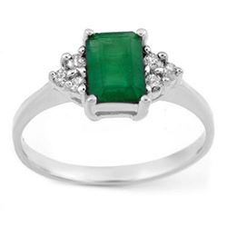 1.12 CTW Emerald & Diamond Ring 18K White Gold - REF-31T8X - 11341