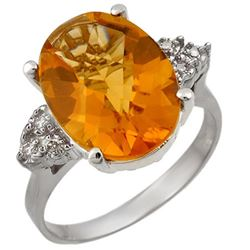 5.10 CTW Citrine & Diamond Ring 18K White Gold - REF-58R2K - 11393