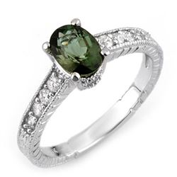 1.25 CTW Green Tourmaline & Diamond Ring 14K White Gold - REF-40W9H - 10726