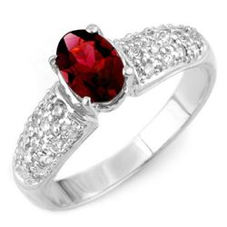 1.50 CTW Pink Tourmaline & Diamond Ring 18K White Gold - REF-72X2T - 10955
