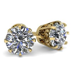 1.50 CTW VS/SI Diamond Stud Solitaire Earrings 18K Yellow Gold - REF-302W9H - 35680