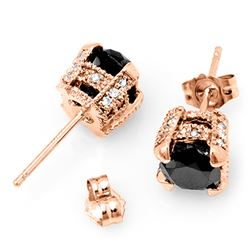 2.0 CTW Vs Certified Black & White Diamond Solitaire Stud Earrings 14K Rose Gold - REF-64F2M - 11851