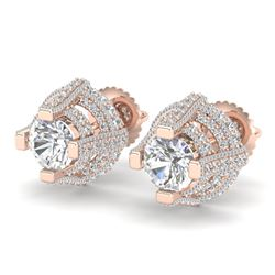 2.75 CTW VS/SI Diamond Solitaire Micro Pave Stud Earrings 18K Rose Gold - REF-320H2W - 36951