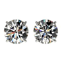 2 CTW Certified H-SI/I Quality Diamond Solitaire Stud Earrings 10K White Gold - REF-289K3R - 33080
