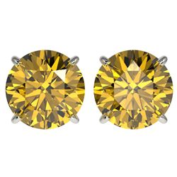 4 CTW Certified Intense Yellow SI Diamond Solitaire Stud Earrings 10K White Gold - REF-824F2M - 3313