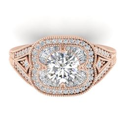1.95 CTW Certified VS/SI Diamond Art Deco Micro Ring 14K Rose Gold - REF-421K6R - 30505