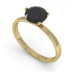 1.0 CTW Black Certified Diamond Engagement Ring Martini 18K Yellow Gold - REF-50N2Y - 32233