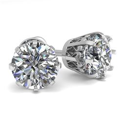 2.0 CTW VS/SI Diamond Stud Solitaire Earrings 18K White Gold - REF-490M4F - 35685