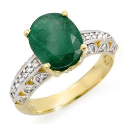 3.83 CTW Emerald & Diamond Ring 10K Yellow Gold - REF-48N2Y - 14029