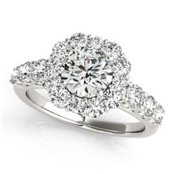 2.25 CTW Certified VS/SI Diamond Solitaire Halo Ring 18K White Gold - REF-445R3K - 26266